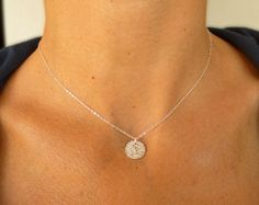 Silver necklace Silver disc necklace Small Silver by SoCoolCharms, Disc Necklace, Minimalist Jewelry, Silver Necklaces, Charms, Unique Jewelry, Handmade Gifts, Etsy, Vintage, Kid Craft Gifts