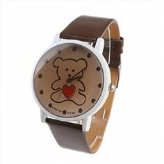Tanboo Lovely Bear Fashion Girl Women Wrist Watch Brown A139 by Tanboo. $7.99. Women's Watche. Wrist Watches. Fashionable Watches Feature Water Resistant. Gender:Women'sMovement:QuartzDisplay:AnalogStyle:Wrist WatchesType:Fashionable WatchesFeature:Water ResistantBand Material:PUBand Color:BrownCase Diameter Approx (cm):4Case Thickness Approx (cm):0.7Band Length Approx (cm):18.5Band Width Approx (cm):1.8