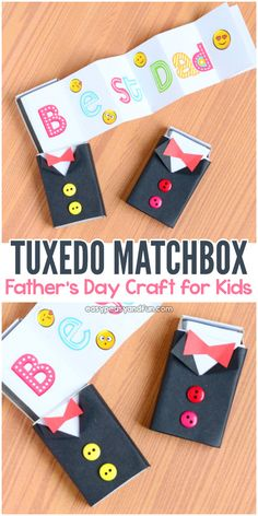 Tuxedo Matchbox Craft Idea for Father's Day. This one can be used as a DIY Father's day card or as a little gift box. fathers day gift grandpa, fathers christmas present, fathers day table Matchbox Crafts, Matchbox Art, Fathers Day Art, Fathers Day Crafts, Easy Arts And Crafts, Crafts To Do, Toddler Crafts, Preschool Crafts, Small Gifts