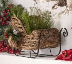 Add old-fashioned country charm to your home with this rustic Rattan Sleigh. Its open construction makes it the perfect seat for your favorite plush dolls or stuffed animals!  Sleigh measures 15L x 8W x 9.75H in.