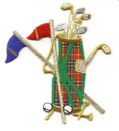 Golf - Golf Bag Iron On Patch ~ Plaid W/Metallic Embroidery -Sport Embellishment  | eBay
