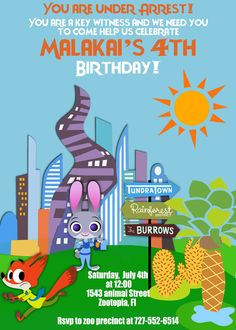 Print Your Own - Zootopia Themed Birthday Party Invite- by (Atom Design)