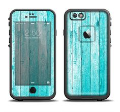 The Trendy Blue Abstract Wood Planks Apple iPhone 6/6s Plus LifeProof Fre Case Skin Set from DesignSkinz