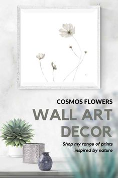 Elegant grey ink-wash drawings of cosmos flowers for your bedroom or living room. Visit my Etsy store to shop my range of wall-art prints and print sets inspired by African nature. #neutral #DIY #forlivingroom #large #bedroom #modern #simple #prints #printable #minimal #boho #painting #set #warm #white #ideas #decor #gallery #overcouch #etsy Cosmos Flowers, Flowers For You, Bedroom Modern, Large Bedroom, White Bedroom, Wall Art Decor, Wall Art Prints, Grey Wall Art, Plant Drawing