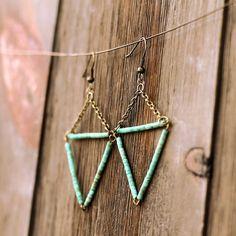 Turquoise Triangle Earrings by Crow Jane Wire Jewelry, Boho Jewelry, Jewelry Crafts, Beaded Jewelry, Jewelery, Jewelry Design, Pandora Jewelry, Jewelry Trends, Jewelry Ideas