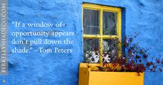 """""""If a window of opportunity appears, don't pull down the shade."""" --Tom Peters #designideas #windowcoverings http://www.berkeleyshadeco.com/"""