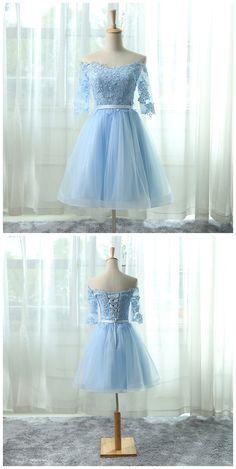 Elegant Homecoming Dresses,A-line Homecoming Dresses,Light Blue Homecoming Dresses,Off