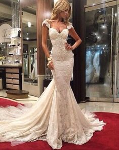 White prom dress,lace prom dress,long prom dress,mermaid prom dress,cap sleeve prom dress,evening dress,formal dress,PD190391