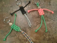 """Paracord """"Buddy"""" Keychain, Paracord Buddy, Paracord Keychain, Paracord Keychain with Ring, Paracord Paracord Keychain, 550 Paracord, Hemp Bracelets, Friendship Bracelets, Girl Scout Swap, Girl Scouts, Pony Bead Crafts, String Crafts, Geocaching"""