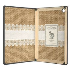 Burlap with Delicate Lace DODcase for iPad - Shabby Chic Style