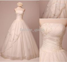 Fashion Ball Gown Strapless Organza Fold Applique Sweep/Brush wedding dresses Wedding gown