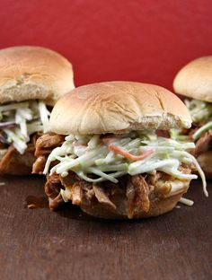 Pulled Pork Sandwiches this is tomorrow nights dinner! Pub buns, cole slaw and pulled pork! Sandwiches, Pork Sandwich, Soup And Sandwich, Sandwich Recipes, Pork Recipes, Slow Cooker Recipes, Crockpot Recipes, Cooking Recipes, Yummy Recipes