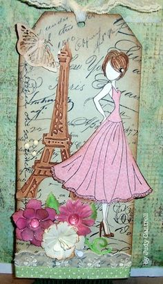 Today my Prima mixed media doll is going to Paris. I used Prima mixed media doll stamp, Tim Holtz Eiffel Tower die and embossing folder, S. Prima Paper Dolls, Prima Doll Stamps, Scrapbook Paper Crafts, Scrapbooking, Mix Media, Paper Dolls Printable, Card Tags, Gift Tags, Do It Yourself Crafts
