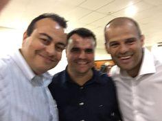 Eu e os companheiros Danilo Santejani (gerente nacional de implantação) e Ronan Maia, diretor presidente, no Encontro Estratégico da PC Sistemas