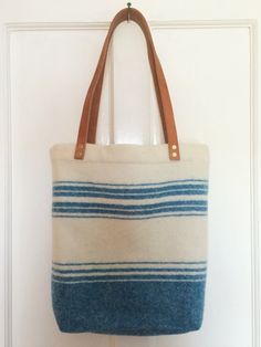 Recycled Blanket Tote Bag (Irish wool, leather)