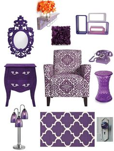 Purple Bedroom Inspiration - The D.I.Y. Dreamer- I would like the mirror, the night stand, the lamp and doorknob and chair