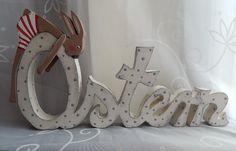 Schriftzug Ostern .mit einem kleinen Hase made by schönes aus Holz - made by me via DaWanda.com