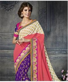 Georgette and Brasso Saree with Blouse | I found an amazing deal at fashionandyou.com and I bet you'll love it too. Check it out!