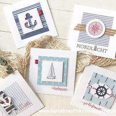 Karos Kreativkram: Square-Practical-Maritime / Part 2 Stampin Up Karten, Small Cards, Scrapbook Cards, Creative, Cardmaking, Greeting Cards, Paper Crafts, Gift Wrapping, Frame