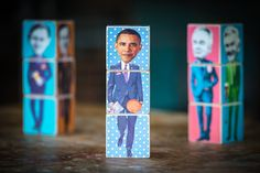 Poliblocks  U.S. Presidents edition wooden stackable by redfoxink, $50.00