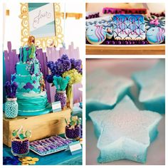 Adorable Golden Mermaid themed birthday party on Kara's Party Ideas | KarasPartyIdeas.com Cake, invitation, favors, food, cupcakes, dessert & more!