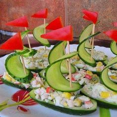 cucumber boats! I would add some low fat cottage cheese, and some carrot sailors. Very cute and healthy.