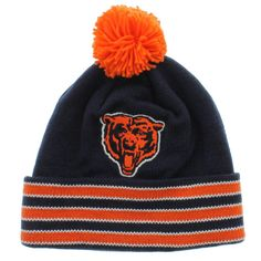 new york 81b86 4d42f Chicago Bears Team Colors The Cuffed Knit Beanie With Pom Mitchell And Ness  Jay Cutler Chicago