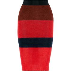 rag & bone - Petra Striped Knitted Skirt (8,075 INR) ❤ liked on Polyvore featuring skirts, crimson, red skirt, red stripe skirt, striped skirts, red striped skirt and pull on skirts