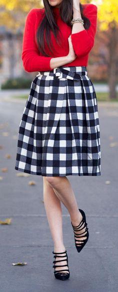 #Plaid #midi #skirt