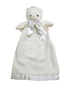 """Personalized Angel Bear Lovie Security Blanket for Baby  This cozy lovie security blanket will be your child's first best friend. They are sure to love the huggable feeling of their custom embroidered Lovie. Lovies are made with the finest details--stitched noses, ultra thick and supple fleece, and petal soft satin. Lovies measure 24.5"""" long.   We can embroidery babys name & birthdate on heart.    $35.00  www.cradletokindergarten.com"""