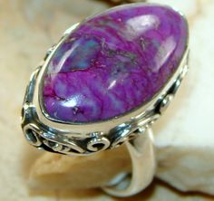 Gorgeous Sterling Silver Purple Turquoise Ring : Turquoise Silver Ring