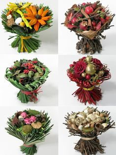 We think you'll love these completely unique floral bouquets available through Deco Fleur. Deco Fleur specializes in dried floral arrangements. These bouquets are designed with the holidays in mind, and are generally used as table centerpieces. But as unique as they are, we think they are also a great addition to a fall or winter wedding.