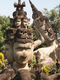 Buddha with skulls. Xieng Khuan Buddha Park in Vientiane, Laos (by ChihPing). Places Around The World, Oh The Places You'll Go, Places To Travel, Places To Visit, Around The Worlds, Colani, Vientiane, Luang Prabang, Ancient Ruins