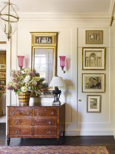 Habitually Chic®  » Beautiful in Birmingham pop of rose in sconce globes. Rose also in chair seat & rug LOVE!