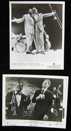 There's that Louis fellow again!  Ecstatically with Trummy Young (and an invisible Barrett Deems) at top, with Danny Kaye in THE FIVE PENNIES (1959) below.