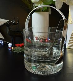 Orrefors Eiswürfelbehälter Glas schwer Metallgriff Eiszange Schwedisches Glasdesign Skandinavisches Design Qualitätsware Neujahrsfeier Edel von VintageLoppisStyle auf Etsy
