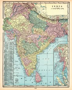 1903 Antique INDIA Map Original Crams Atlas Map of India Gallery Wall Art Home Decor Birthday Gift For Wedding Anniversary 11660 by plaindealing on Etsy World Map Decor, India Map, Vintage Maps, Incredible India, Sri Lanka, Craft Projects, My Etsy Shop, Gallery Wall, The Incredibles