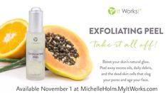 Are you ready to take it all off? Are you ready to reveal a more natural, youthful you? Introducing the newest member of the It Works! Skin line - the Exfoliating Peel! Available on November 1! #ItWorks #Peel #Skincare https://MichelleHolm.MyItWorks.com