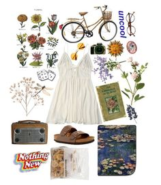 """""""Lovely day in the garden"""" by caroline-is-pop-punk ❤ liked on Polyvore featuring Retrò, OKA, Birkenstock, Trademark Fine Art and MNKR"""