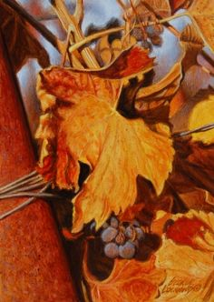 Golden Vines grape vine leaves, painting by artist George Lockwood