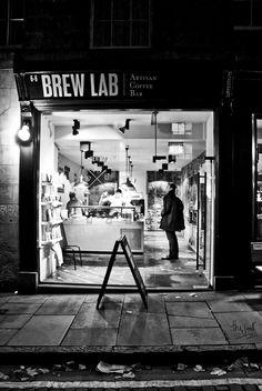 An Edinburgh coffee den beside the Old College on Southbridge. Edinburgh, Den, Brewing, Old Things, College, Street, People, University, People Illustration
