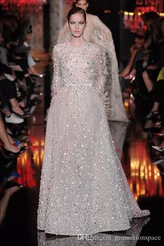 2016 Hot Sale O Neck Long Sleeve Prom Evening Dresses Elie Saab Gowns Beaded Rhinestones Pocket Long Celebrity Dresses Fall Evening Dresses Floor Length Evening Dress From Promotionspace, $327.66| Dhgate.Com