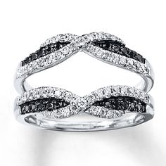 This is close to what I tried on and fell in love with... Black & White Diamonds 1/2 ct tw Enhancer Ring 14K White Gold