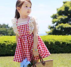 Little Girls Dresses Princess Plaid Elastic Lace Clothes, Blue/Red