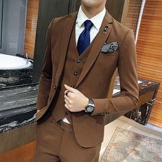 2017 Latest Coat Pant Designs Brown Men Suit Slim Fit Skinny 3 Piece Formal Tuxedo Suits Custom Groom Blazer Terno Masculino 047
