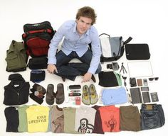 Everything Colin owns - packing compactly!