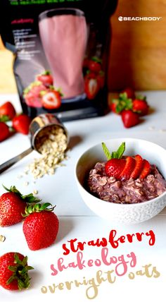 Busy mornings always have you rushing around? Then this Strawberry Shakeology Overnight Oats recipe is about to be your go to! // breakfast // easy // eat clean // protein // nutrition // healthy food // healthy recipes // recipe // fresh fruit // 21 Day Fix // Shakeology // overnight oats // Beachbody // BeachbodyBlog.com