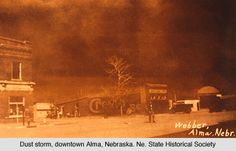 Dust storm, Alma, Nebraska. The dust was red which came all the way from Oklahoma soil #history