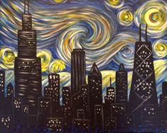 Starry Night Chicago Inspired by Van Gogh's Starry Night this painting combines the famous swirly sky with the windy city skyline.