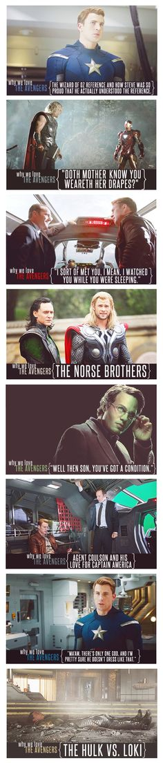 Why We Love the Avengers. This would be complete even if just had a picture of Captain America.